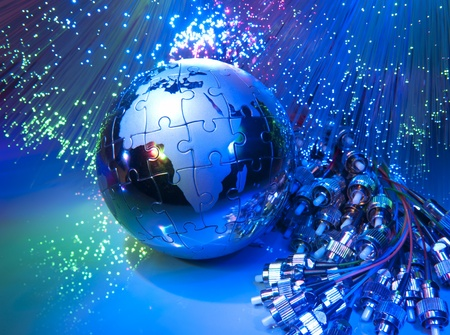 world map technology style against fiber optic background Фото со стока - 10442138