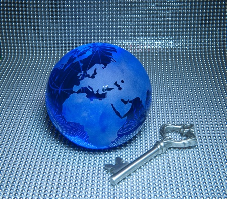 Global business success themes.earth with key  photo