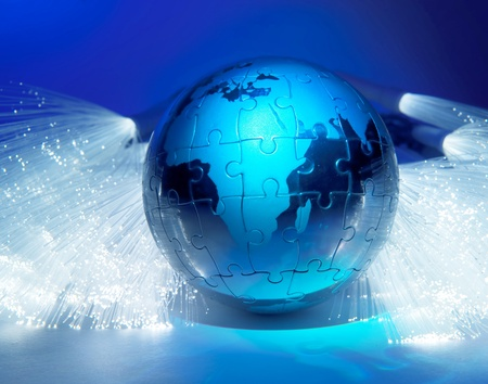 world map technology style against fiber optic background  Stock Photo - 10623549