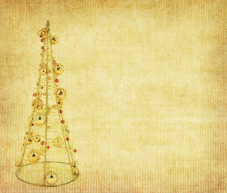 Old antique vintage paper background with Christmas decoration photo
