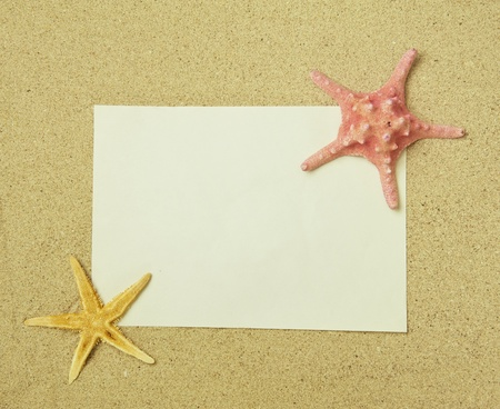 starfish and shells with frame on the beach, vacation memories Stock Photo