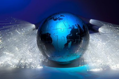 world map technology style against fiber optic background Stock Photo - 10620207