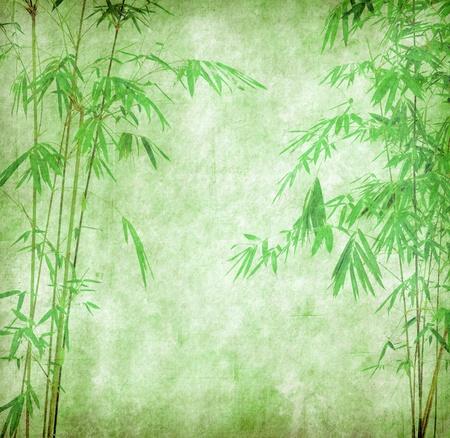japones bambu: diseño de árboles de bambú chino con textura de papel hecho a mano