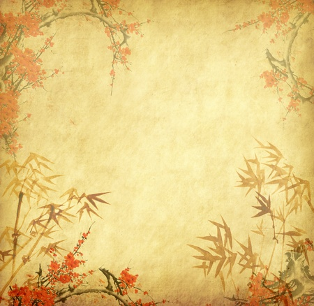 oriental: bamboo on old grunge antique paper texture