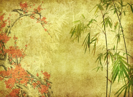 plums: bamboo and plum blossom on old antique paper texture  Stock Photo