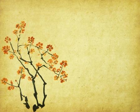 flor de durazno: Primavera de flor de durazno en el Antiguo fondo antiguo papel de �poca
