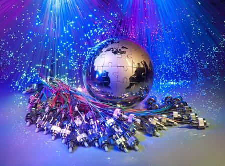 fibra óptica: mapa del mundo la tecnología de estilo contra el fondo de fibra óptica