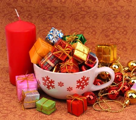 Christmas gift on Vintage christmas background  Stock Photo - 11398977