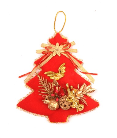 red Christmas tree with white background photo