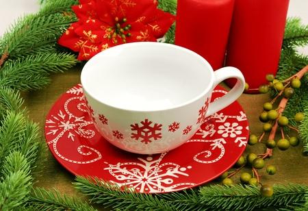 christmas tea: Christmas cup on Vintage christmas background