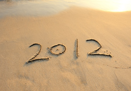 2012 new year message on the sand beach  Stock Photo - 11574566