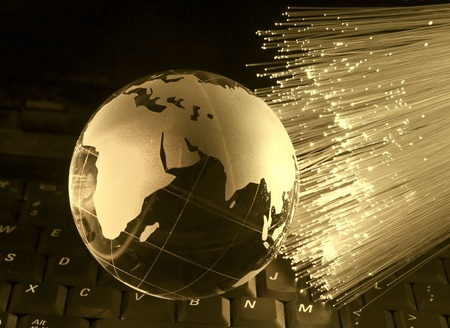 high speed internet: globe with high technology background  Stock Photo