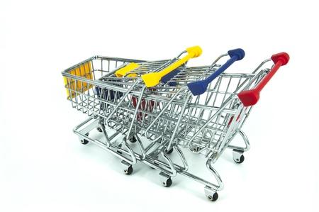 shopping cart over white background Stock Photo - 11884578