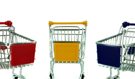 shopping carts over white background  photo