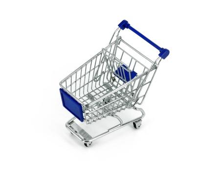 cassa supermercato: carrello su sfondo bianco Archivio Fotografico