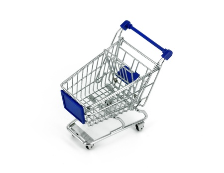 cart cash: shopping cart over white background Stock Photo
