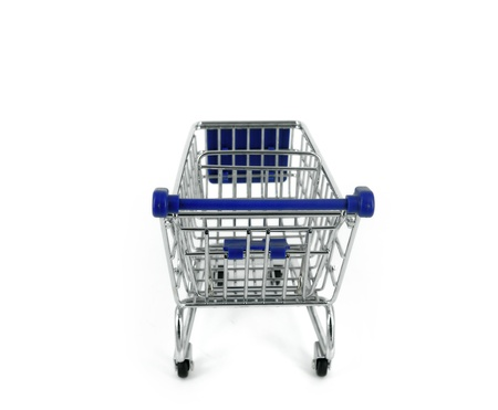 shopping cart over white background photo