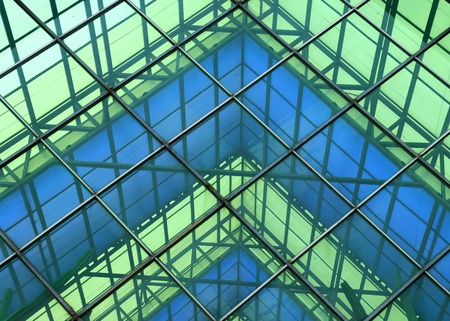 modernity: Contemporary office building blue glass wall detail  Stock Photo