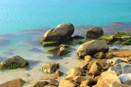 storm tide: sea and rocks is a beautiful coastline