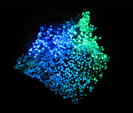 trafficabstract: technology background, Bunch of green red fibre optics