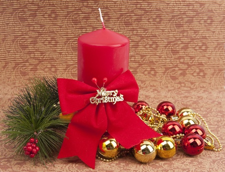 red Christmas candle and bauble  photo