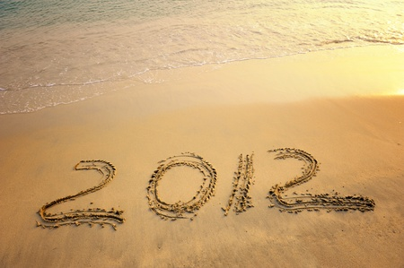 2012 new year message on the sand beach  photo