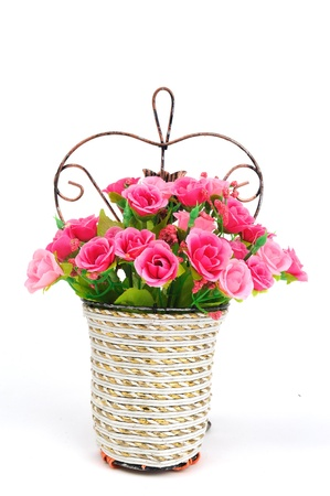 basket of flowers isolated on white background Stock Photo - 11871078
