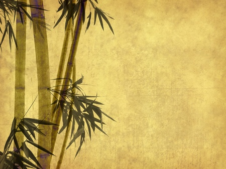 korea: bamboo on old grunge antique paper texture Stock Photo
