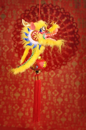 Chinese New Year Decoration--Closeup of Dancing Dragon and knots  photo