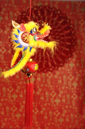 Chinese New Year Decoration--Closeup of Dancing Dragon and knots Stock Photo - 11951425
