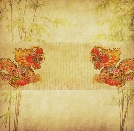 Chinese New Year,design of chinese bamboo with traditional dragon  photo