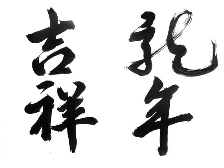 Chinese New Year Calligraphy for words mean lucky year of the drangon.            Stock Photo