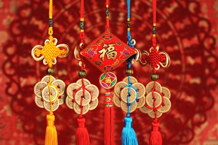 traditional celebrations: Lucky knot for Chinese new year greeting