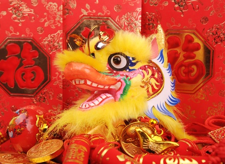 chinese new year dragon: Chinese New Year Ornaments--Traditional Dancing Dragon,golden coin and Money Red Packet,red firecracker