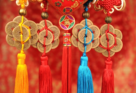 Lucky knot for Chinese new year greeting Stock Photo