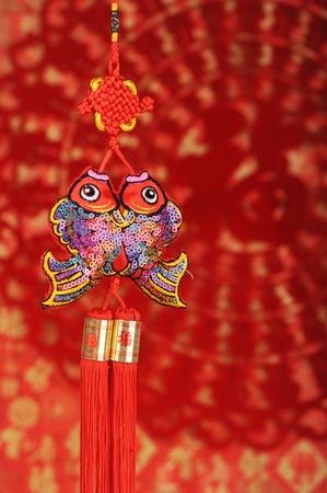 Chinese symbool voor geluk - vis Stockfoto