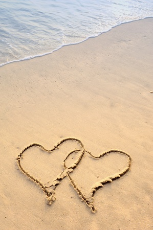 heart in sand: two hearts drawn in beach