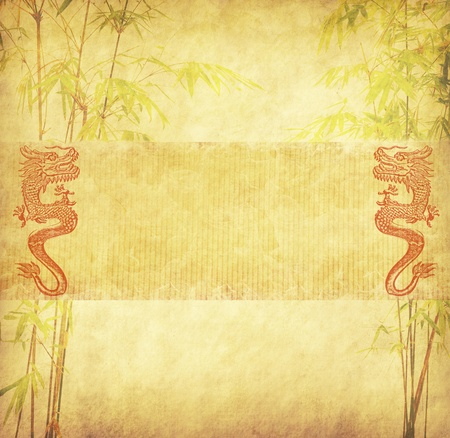 chinese background: Chinese New Year,design of chinese bamboo with traditional dragon