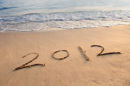 Numbers 2012 on tropical beach sand Stock Photo - 12048713