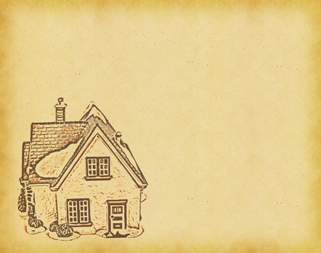 house on Old antique vintage paper background  photo