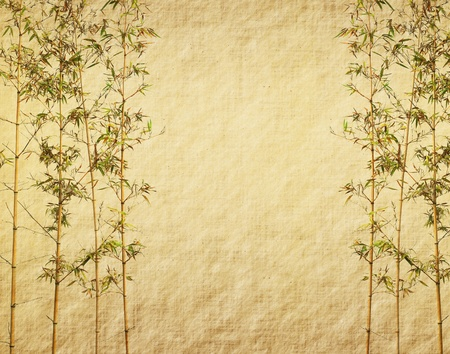 korean design: bamboo on old grunge antique paper texture