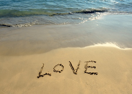 i Love you in the sand photo