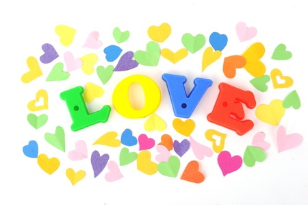 love in Heart Shape on White Background  photo