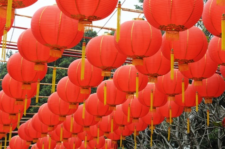red lanterns with chinese letters printed. It brings good luck and peace to prayer  photo