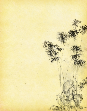 bamboo frame: design of chinese bamboo trees with texture of handmade paper