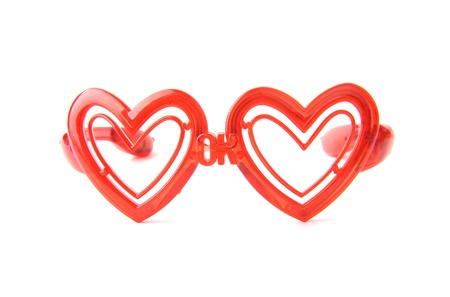 glasses with heart shape glass photo