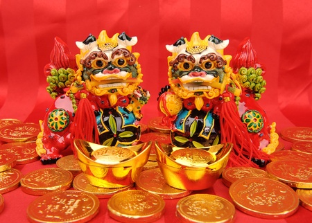 chinese new year dragon: traditional dancing lion for lucky of Chinese New Year  Stock Photo