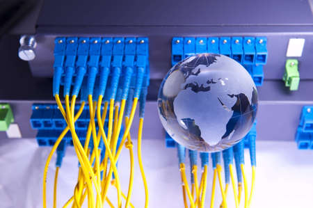 fiber cable serve with technology style against fiber optic background photo