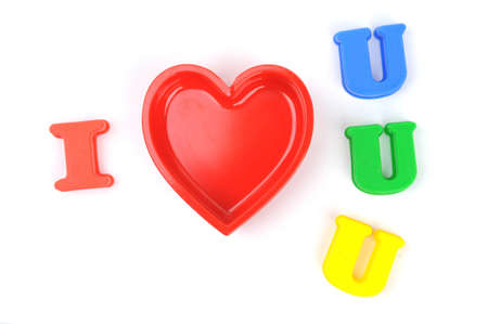 i love you; realistic cut, in Heart Shape on White Background photo