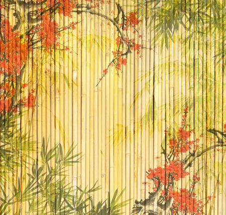 design of chinese bamboo trees with texture of handmade paper photo